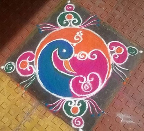 Simple Elegant Peacock Rangoli
