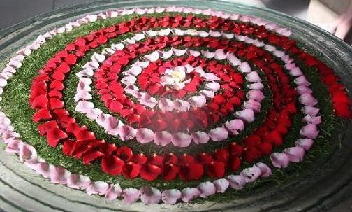 Spiral Floating Floral Arrangement on Water