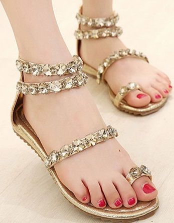 Flat Stones Studded Sandals