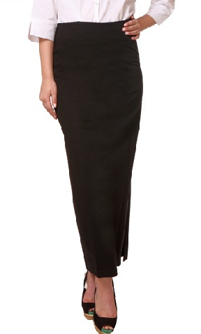 Black Straight Long Formal Skirt