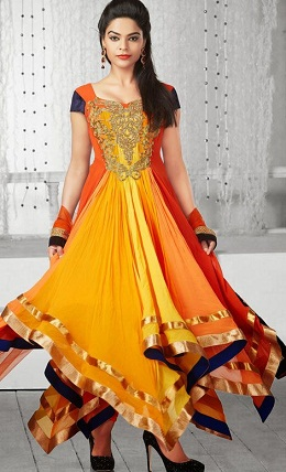 Anarkali Net Embroidered Sleeveless Long Churidar Kameez Designs 2014