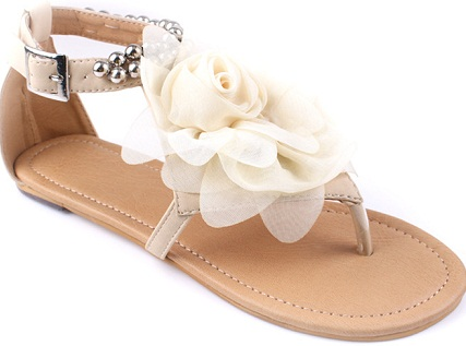 Flat White Buckle Sandals