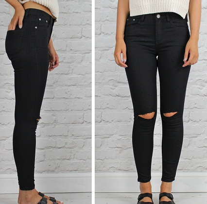 Women Knee Ripped Black Jeans
