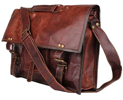 "15"" Leather laptop crossover messenger bag -8"
