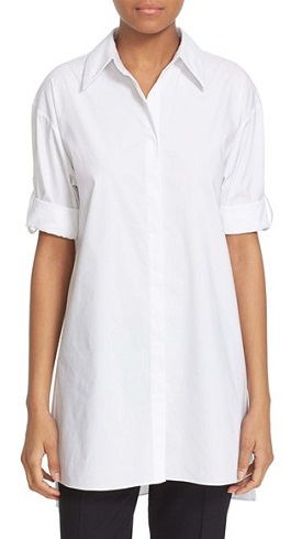 Alice+ Olivia Camron Collared Poplin Tunic Shirt