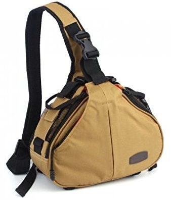 Andoer Caden K1 Waterproof Fashion Casual DSLR Camera Bag Case Messenger Shoulder Bag for Canon Nikon Sony (Khaki) -5