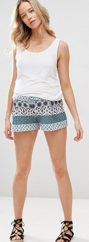Asos - Green Stripe Scarf Print Shorts