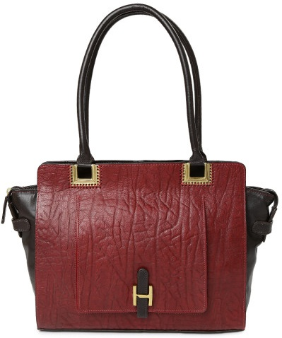 Burgundy and Brown Leather Shoulder Bag