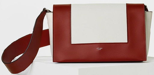 Burnt red and white smooth calfskin bag