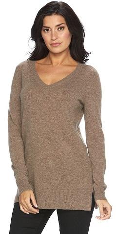 Cashmere V-Neck Tunic Sweater