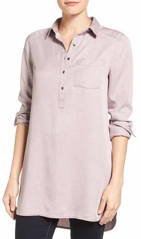 Caslon(R) Chambray Popover Tunic Shirt