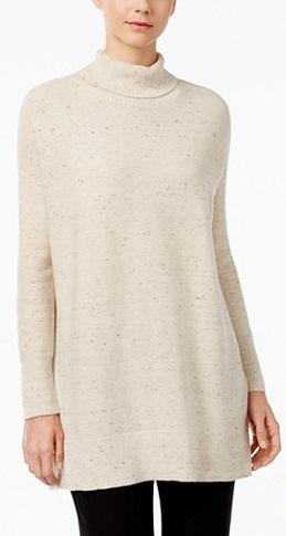 Eileen Fisher Organic Cotton-Blend Turtleneck Tunic Sweater