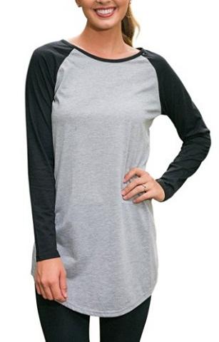 Halife Crew Neck Raglan Sleeve Tunic T-Shirt