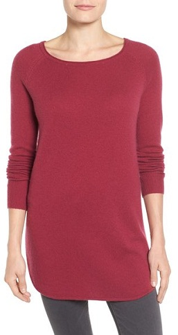Halogen – Shirttail Wool and Cashmere Boat Neck Tunic
