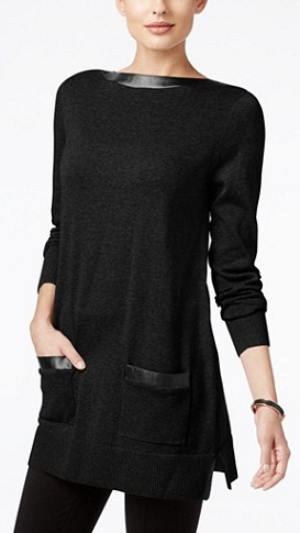 Jeanne Pierre Faux-Leather-Trim Tunic Sweater