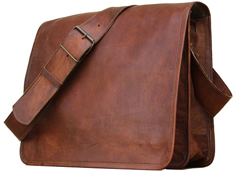 Leather Messenger Bag that has laptop -3