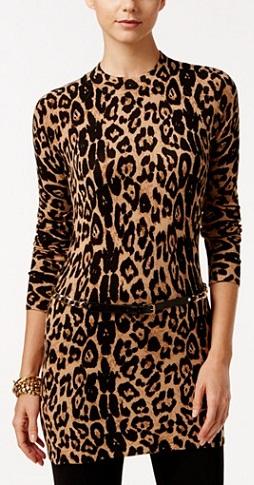 Macy Leopard-Print Tunic Sweater