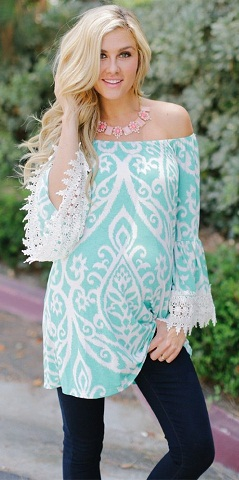 Maternity Casual Printed Tunic with Lace Detail in Blue