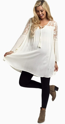 Maternity Delicate Tunic with Lace Detailing