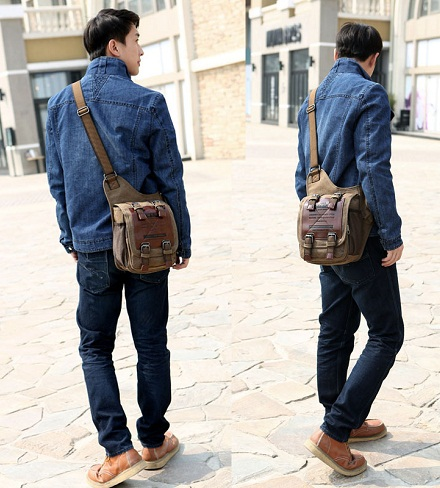Men's Leather Messenger Satchel Bag