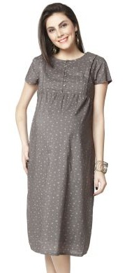 Nine Maternity Dress in Gray Print -9
