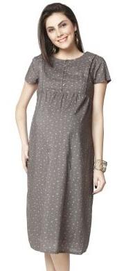 Nine Maternity Dress in Gray Print -9