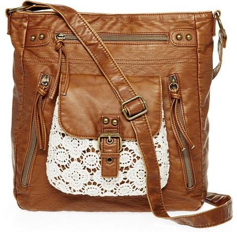 Polyester and Crochet Cross Body Handbag