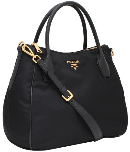 Prada Nero Tess to Nylon and Leather Handbag