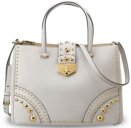 Saffiano Metal Studs Handbag