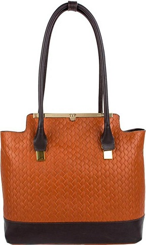 Tan and Brown Shoulder Handbag