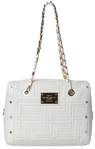 Versace Stitched White Leather Shoulder
