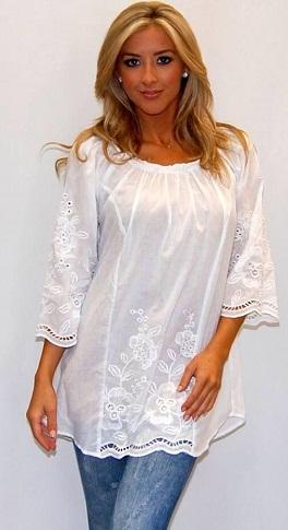 White Floral Pattern Tunic