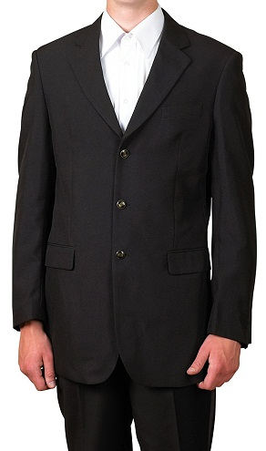 3 Button Single Breasted Black Blazers