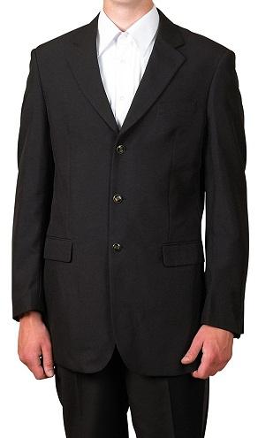3 Button Single Breasted Black Blazers