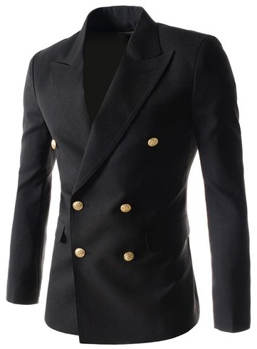 6 Button Double Breasted Black Blazers