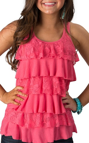 A Pink Knit Ruffle Front Top