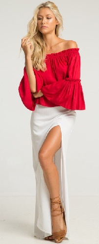 A Red Bell Sleeve Top