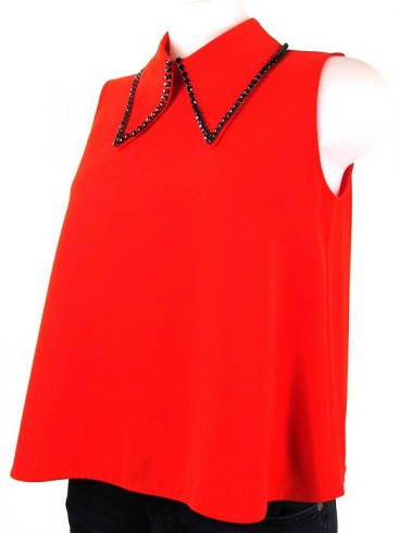 A Red Collared Top
