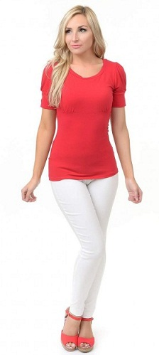 A Red Puffed Top