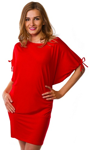 A Red Stretch Batwing Top