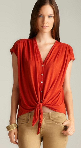 A Red Tie Front Top