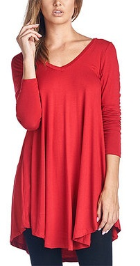 A Red Tunic Top