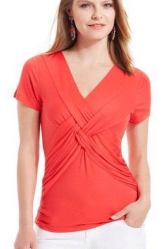 A Twist Front Red Top