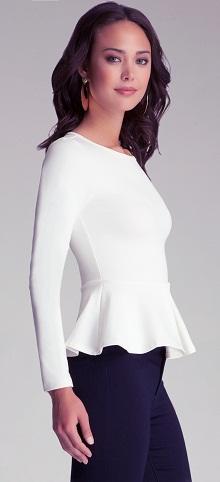 A white Long Sleeve Peplum Top
