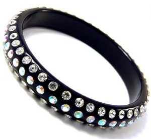 Acrylic Black Bangles with Stones