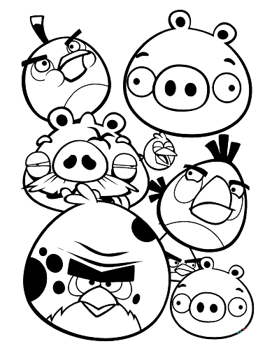 All Birds In Angry Bird Colouring Page
