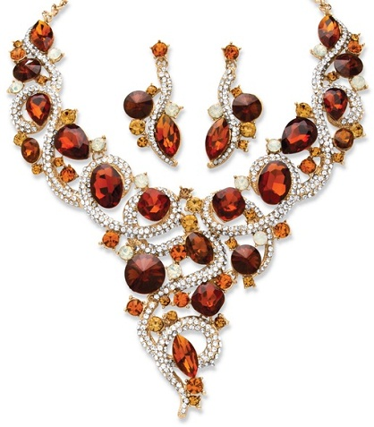 Amber crystal necklace set -14