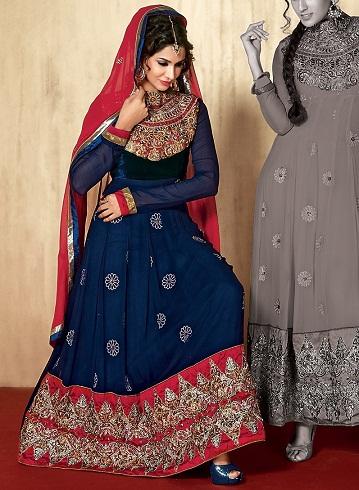 Anarkali Blue Salwar Kameez Design
