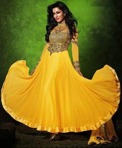 Anarkali Indo Western Yellow Salwar Kameez Design