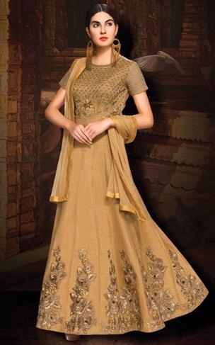 Anarkli Style Silk Salwar Kameez